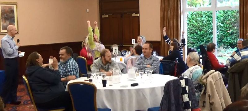 Chris Alexander (THA CEO) speaking to service users at the Participatory Budgeting event recently held at the Dunsilly Hotel