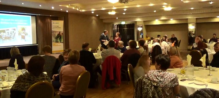 Staff and service users at the Participatory Budgeting event recently held at the Lodge Hotel